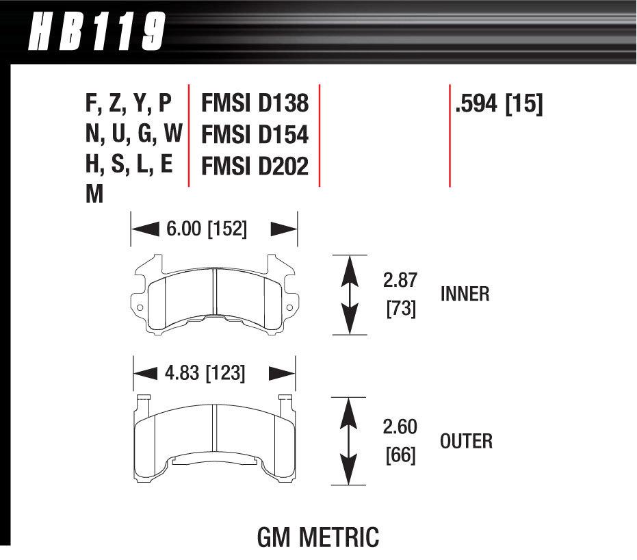 Hawk Brake Metric GM DTC-30