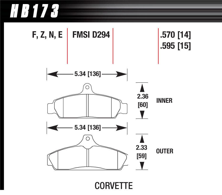 Hawk Brake Corvette HP Plus