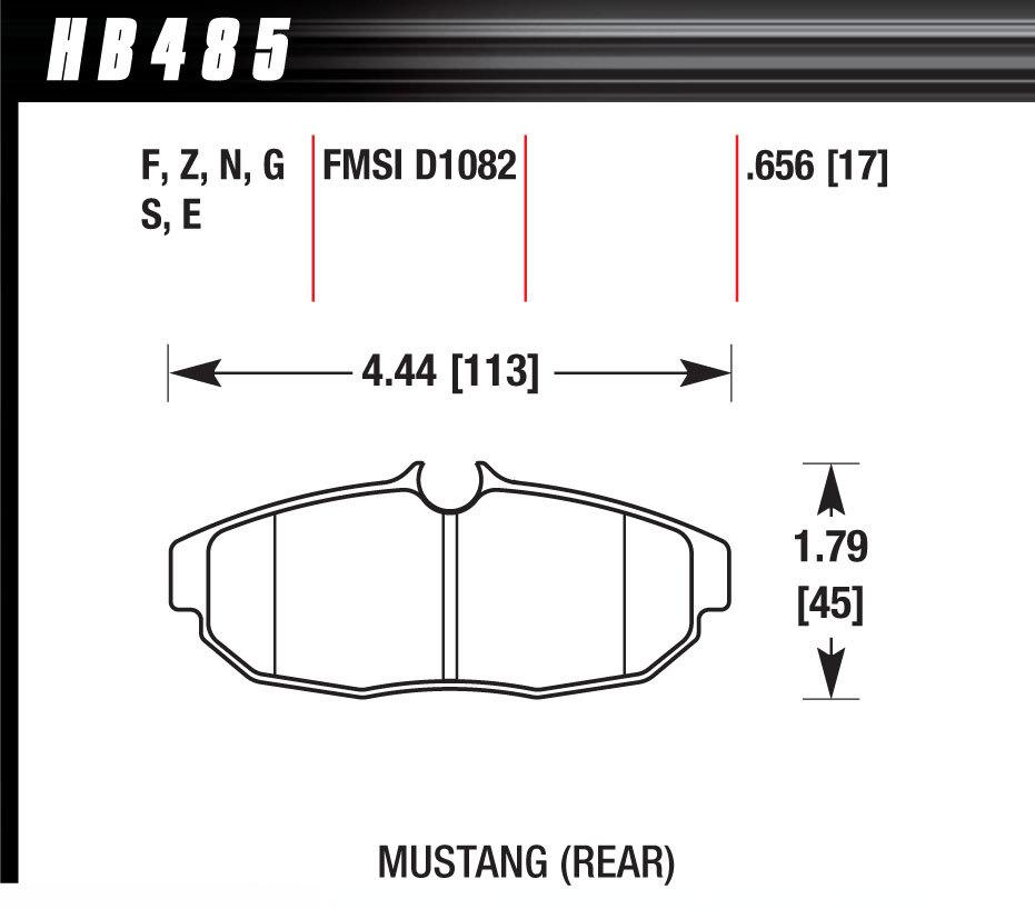 Hawk Brake Brake Pad Set 05 Mustang Rear DTC70