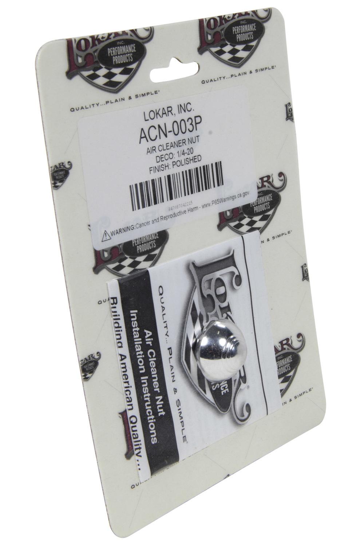 Lokar Air Cleaner Nut Deco 1/4-20 Polished