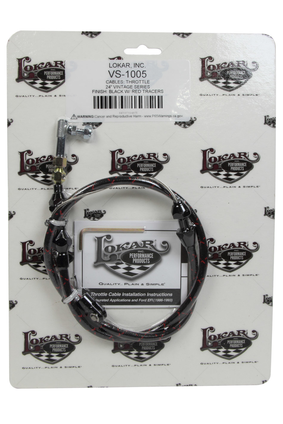 Lokar VS Throttle Cable Black Black Wrap w/ Red Tracer