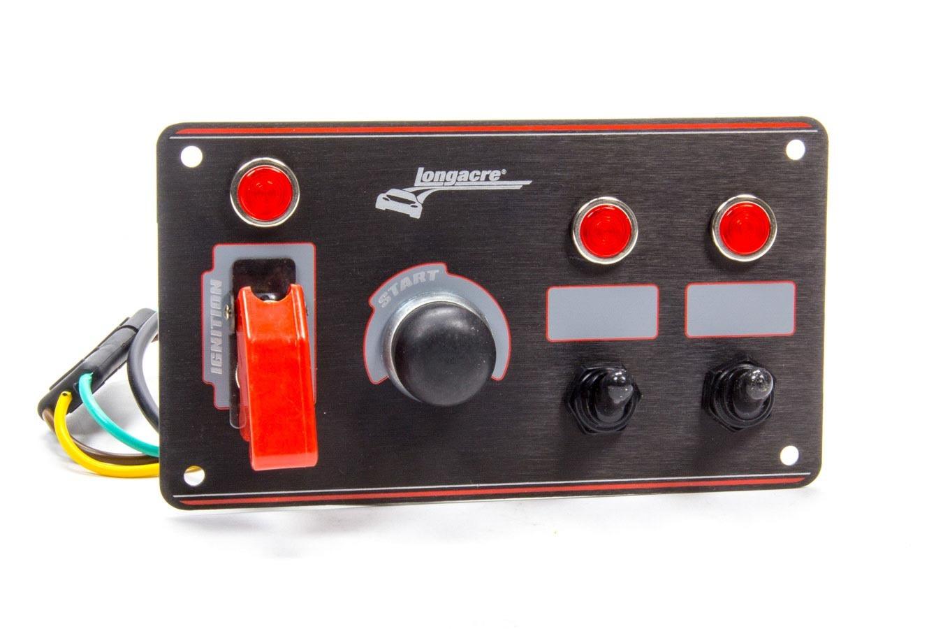 Longacre Ignition Panel Black w/2 Acc. and Pilot Light