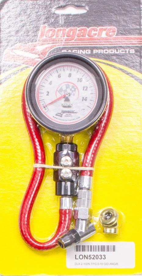 Longacre Tire Gauge 0-15PSI 2.5in GID Dual Bleed Deluxe