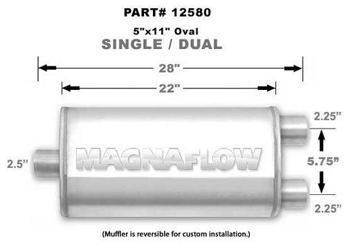 Magnaflow Perf Exhaust Stainless Muffler Single 2.5in In Dual 2.25in Out