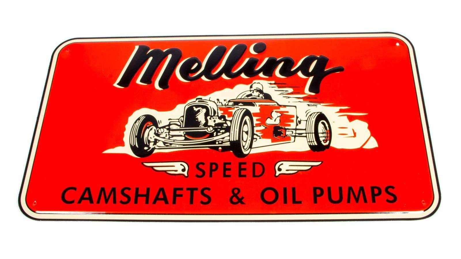 Melling 1950 Nostalgic Metal Sign - Red (Race Car)