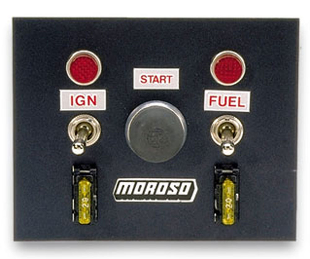Moroso Toggle Switch Panel 4in x 5in - Black Finish