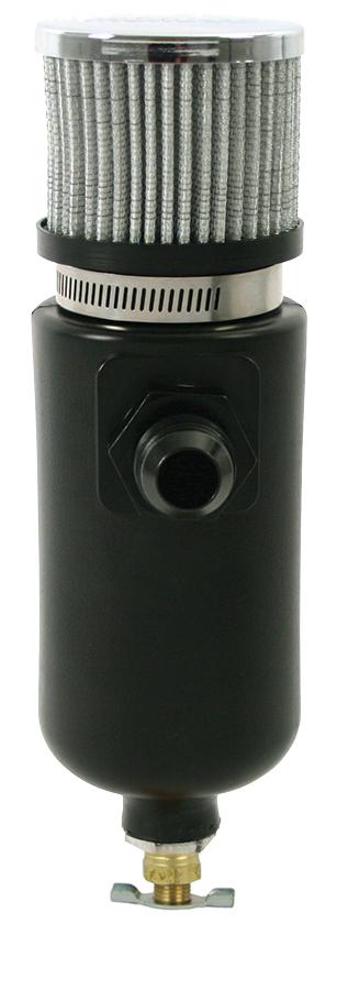 Moroso 1qt Breather Tank w/6an Inlet Black Polyethylene