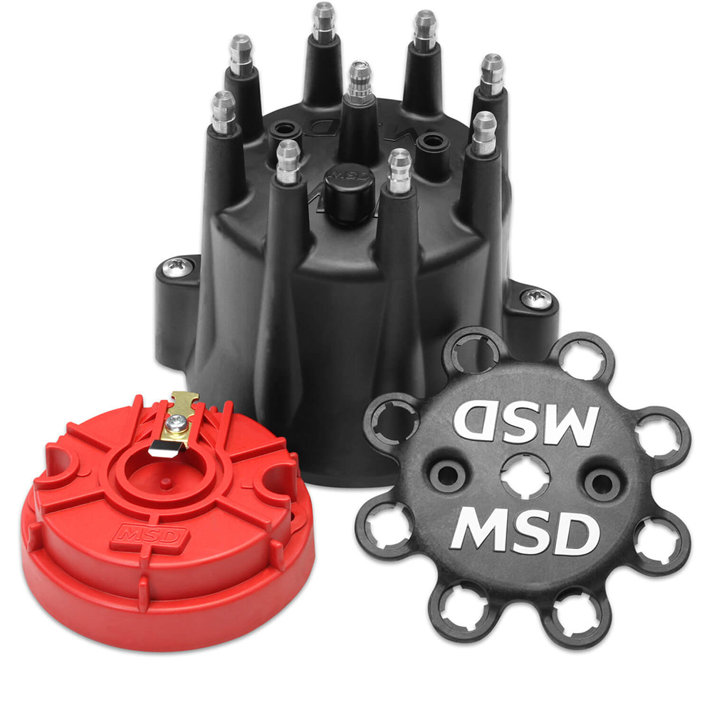Msd Ignition Distributor Cap & Rotor Kit Chevy V8 HEI Black