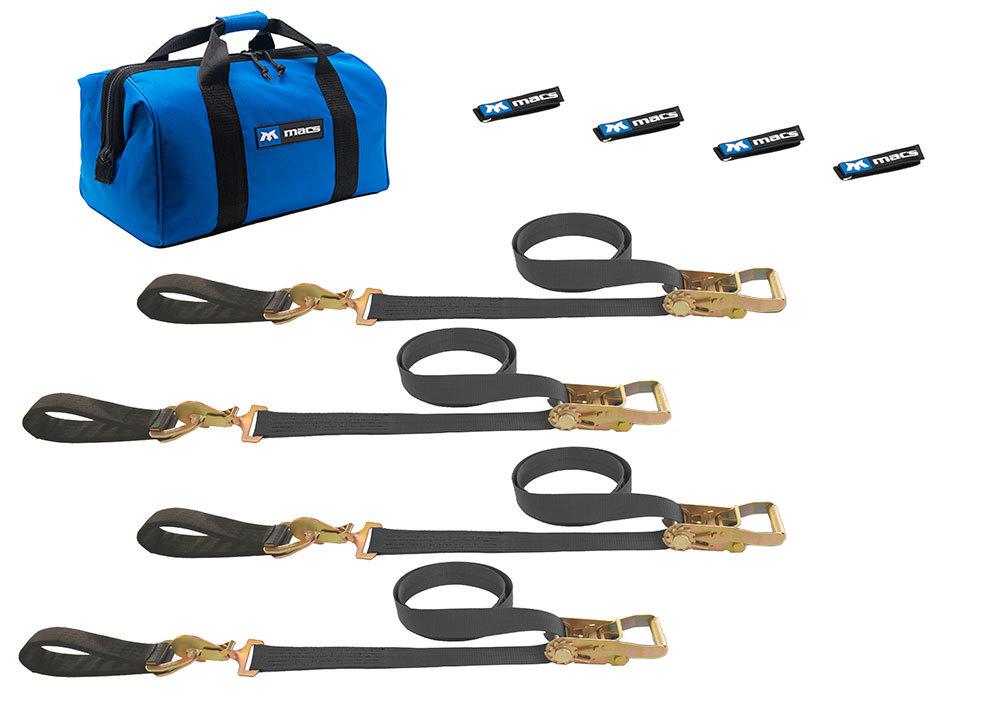 Macs Custom Tie-downs 4 Tie Downs Direct Hook & 4-24in Axle Straps