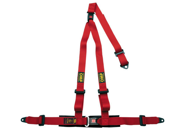 Omp Racing, Inc. Strada 3 Harness Red Bolt in Push Button Exit
