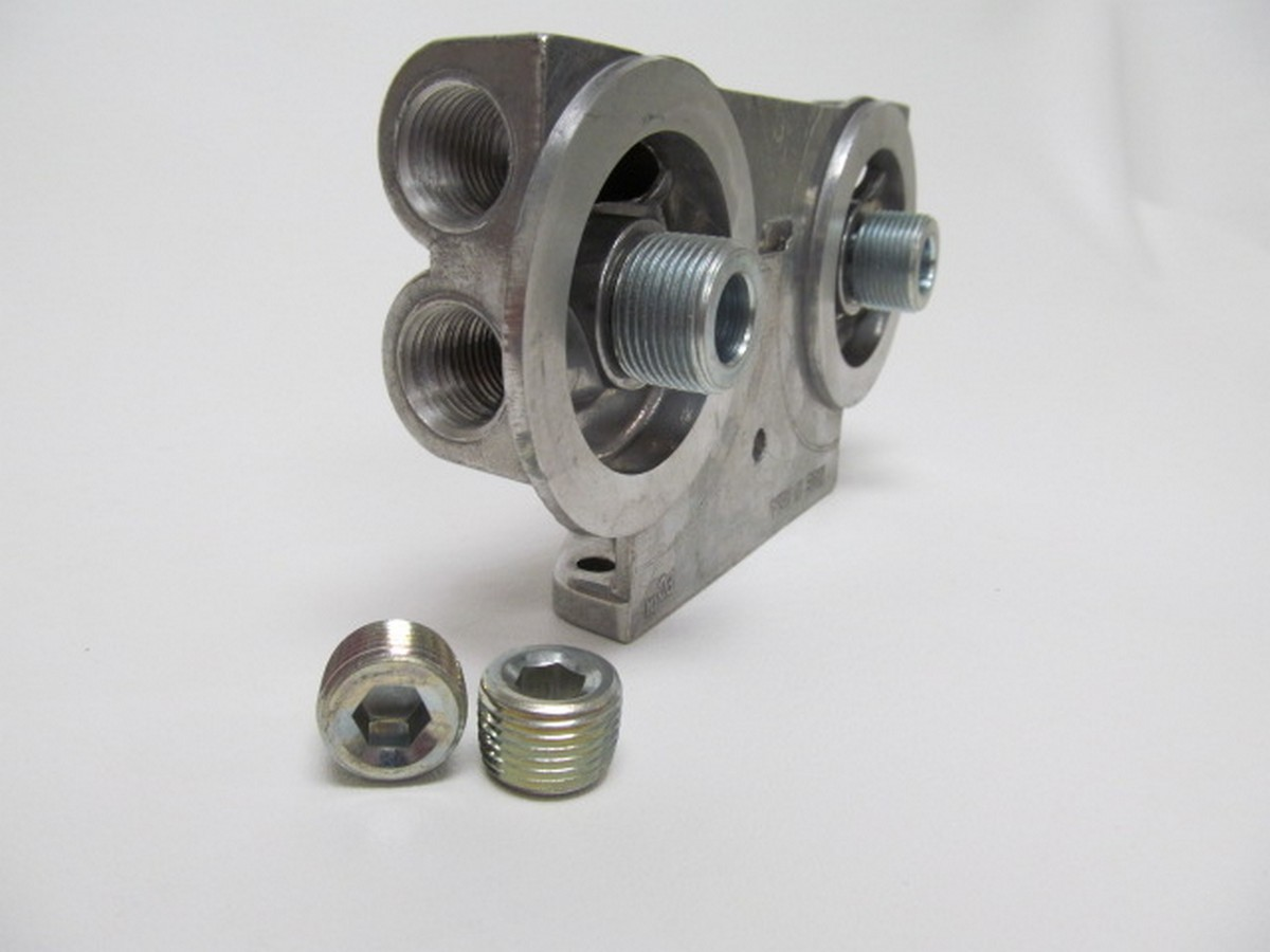 Perma-cool Dual Oil Filter Mount 1in-16 Thread 1/2in NPT