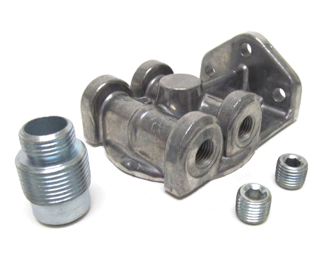 Perma-cool Oil Filter Mount  1in-14 Ports: 1/4in NPT  L/R