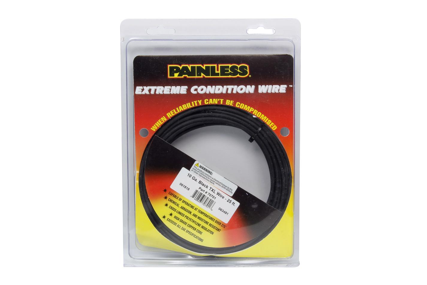 Painless Wiring 10 Gauge Black TXL Wire  25 Ft.