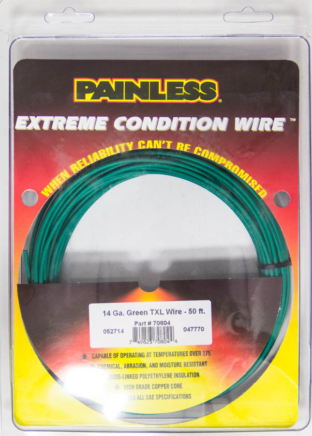Painless Wiring 14 Gauge Green TXL Wire  50 Ft.