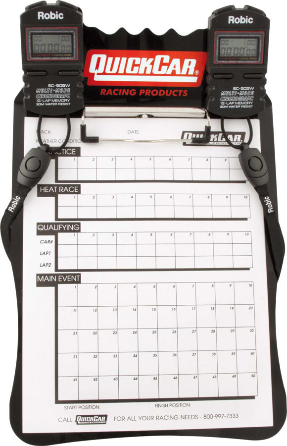 Quickcar Racing Products Clipboard Timing System Black