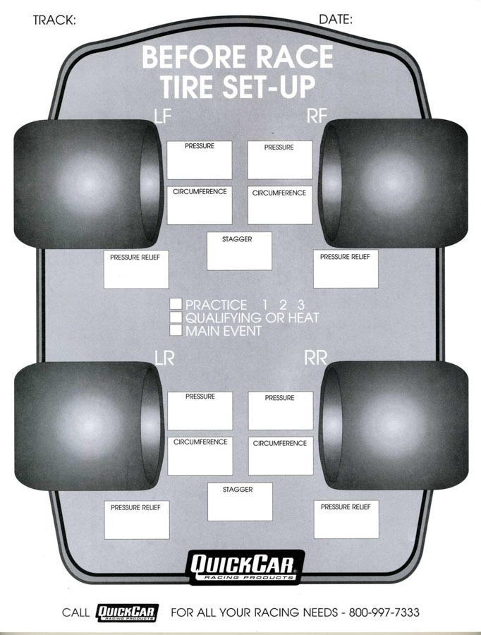 Quickcar Racing Products Before Race Tire Set-Up Forms (50 PK)
