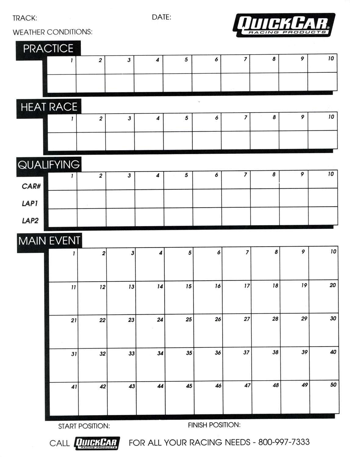 Quickcar Racing Products Time Organizer Sheets 50 Lap