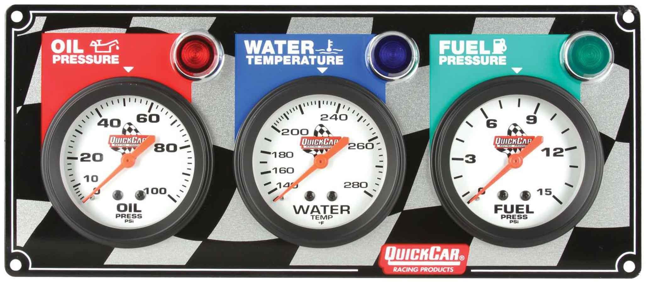 Quickcar Racing Products 3 Gauge Panel OP/WT/FP
