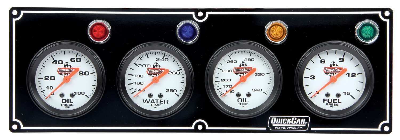 Quickcar Racing Products 4 Gauge Panel  OP/WT/OT/ FP Black