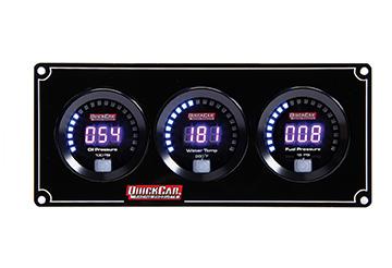 Quickcar Racing Products Digital 3-Gauge Panel OP/WT/FP