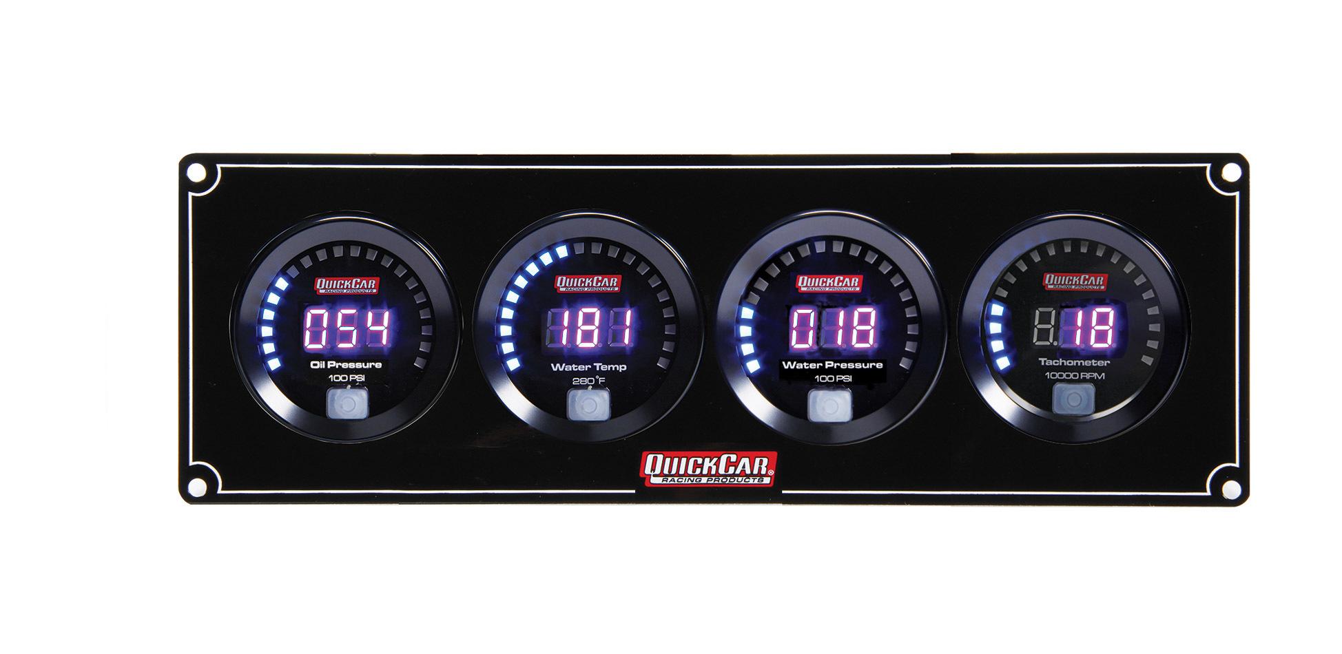 Quickcar Racing Products Digital 3-1 Gauge Panel OP/WT/WP w/Tach