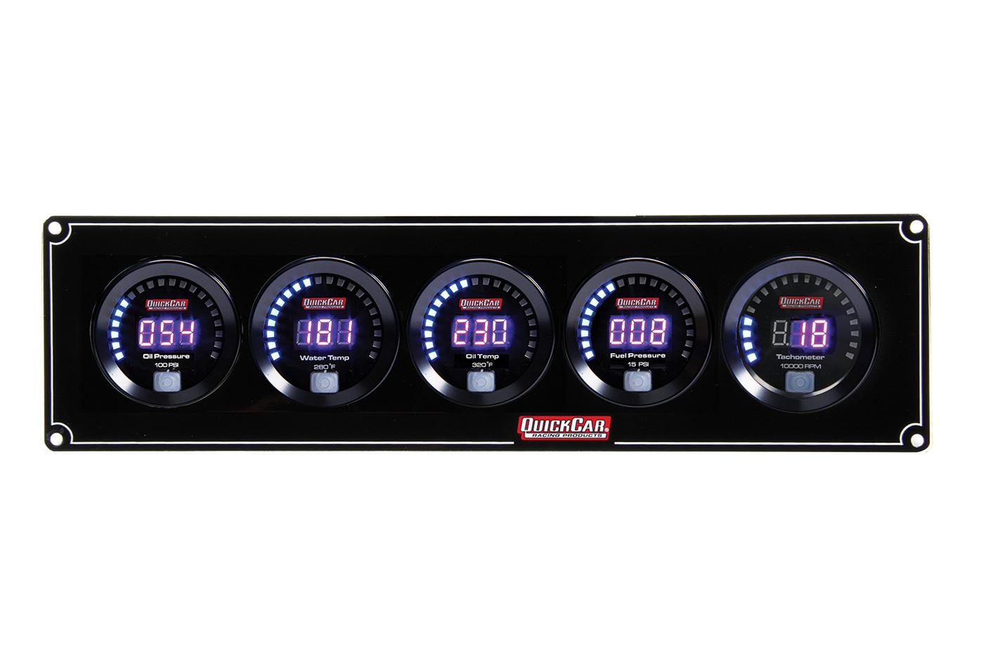 Quickcar Racing Products Digital 4-1 Gauge Panel OP/WT/OT/FP w/Tach