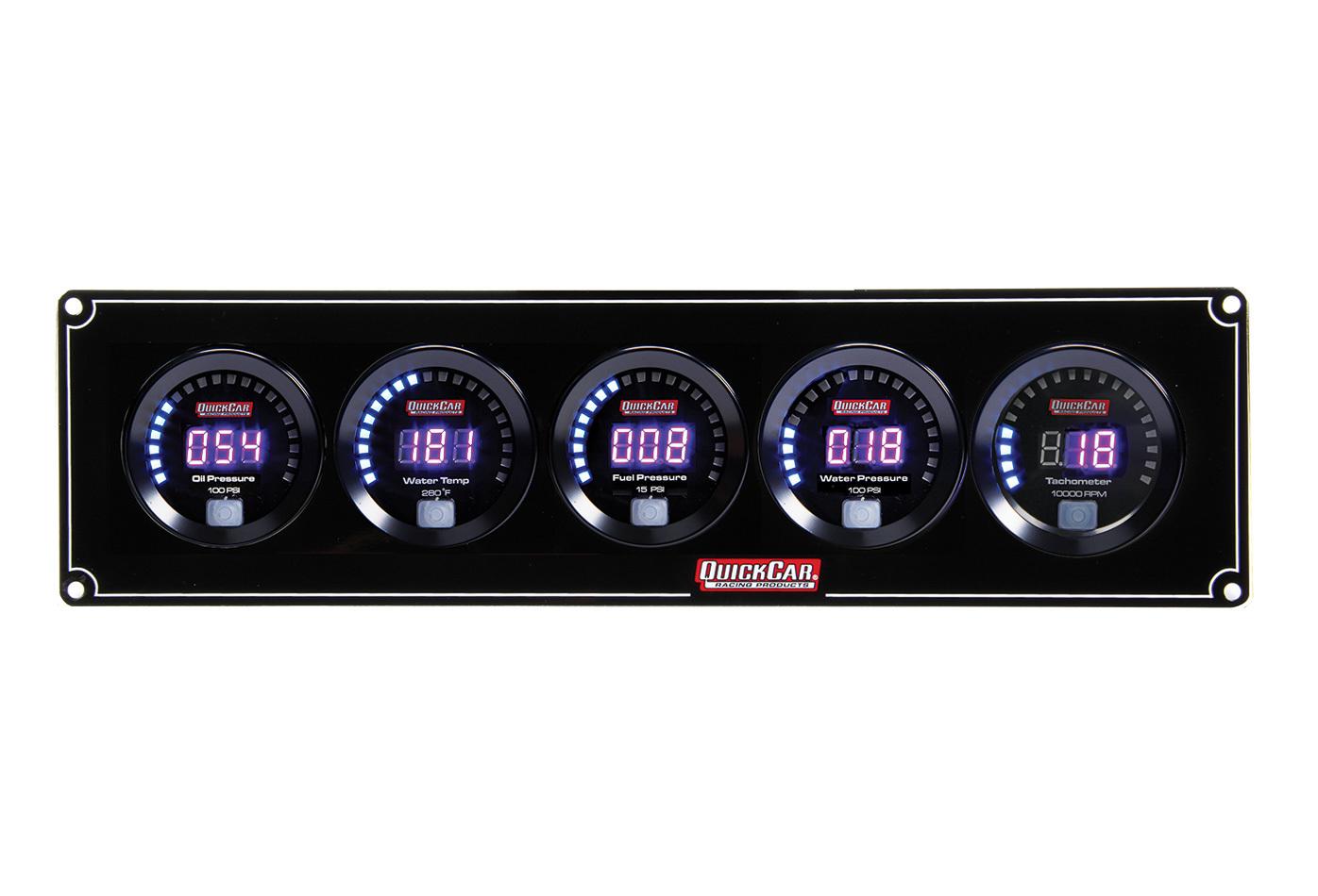 Quickcar Racing Products Digital 4-1 Gauge Panel OP/WT/FP/WP w/Tach