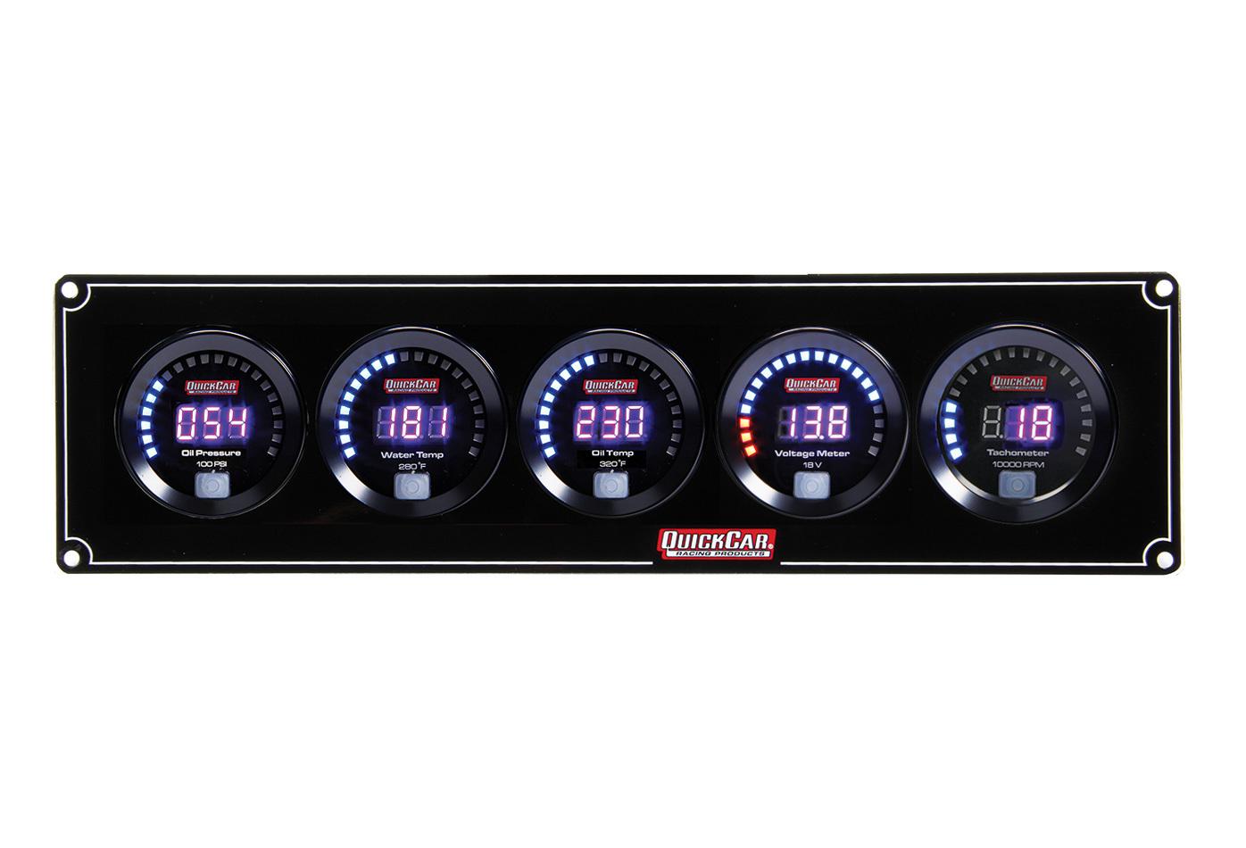 Quickcar Racing Products Digital 4-1 Gauge Panel OP/WT/OT/Volt w/Tach