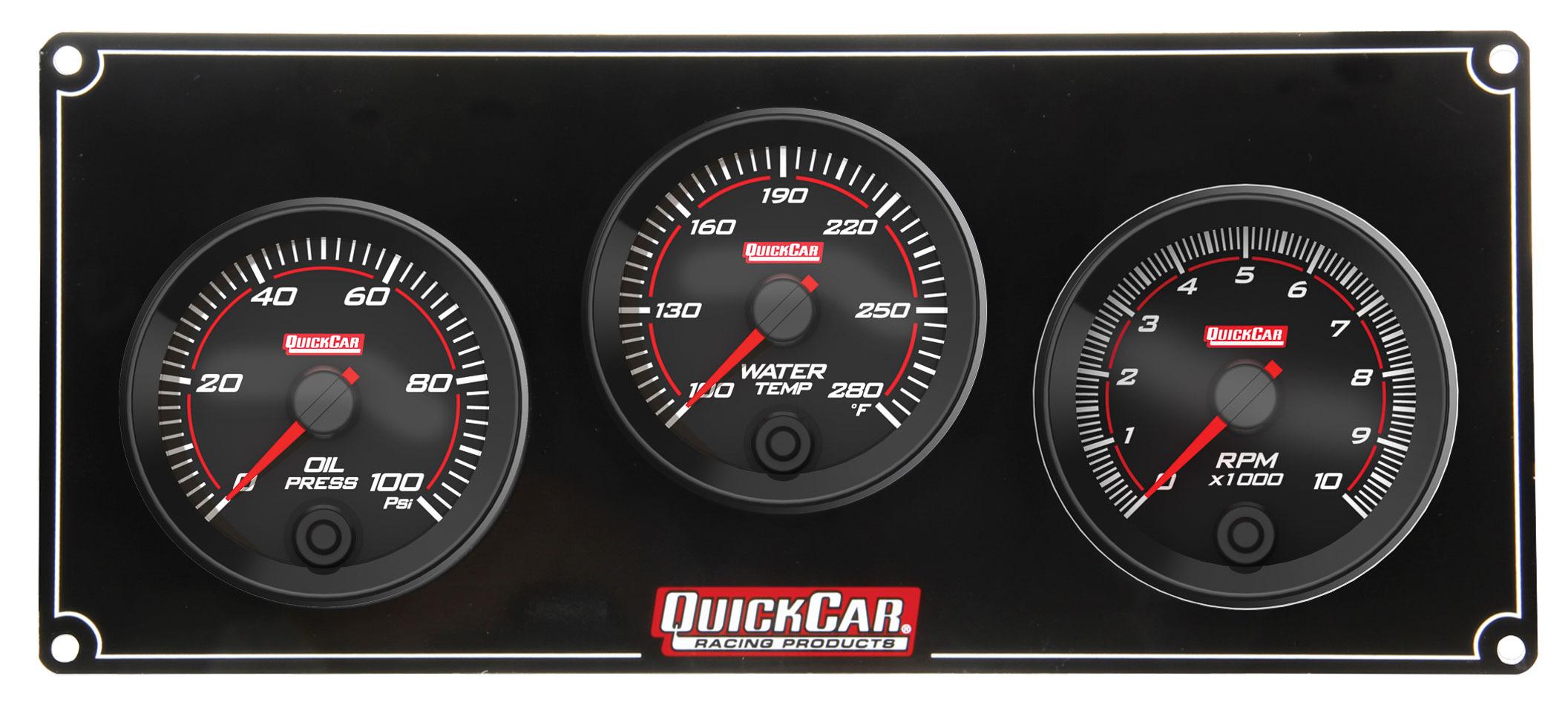 Quickcar Racing Products Redline 2-1 Gauge Panel OP/WT w/Recall Tach