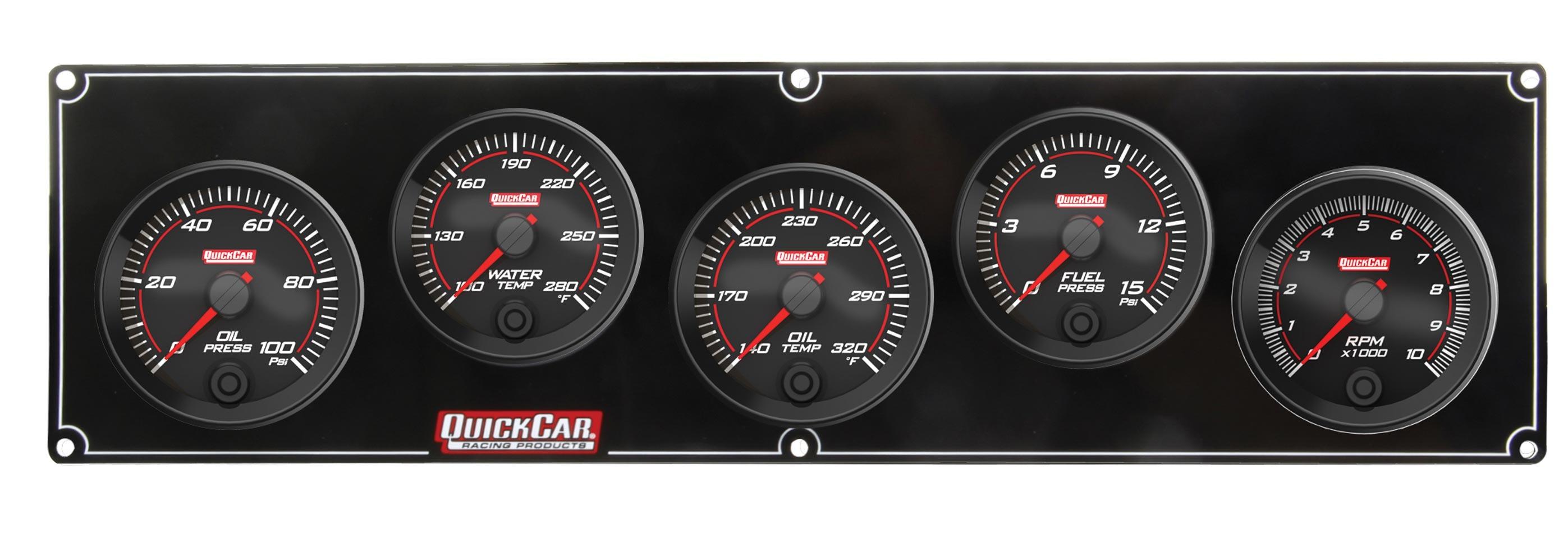 Quickcar Racing Products Redline 4-1 Gauge Panel OP/WT/OT/FP w/2-5/8 Tach