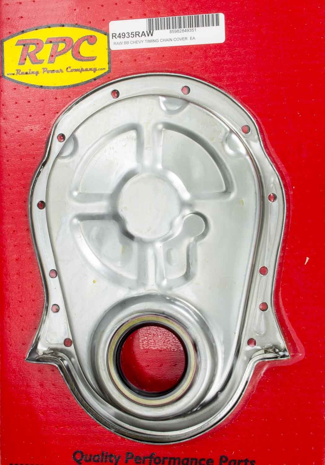 Racing Power Co-packaged BBC Steel Timing Chain Cover Unplated
