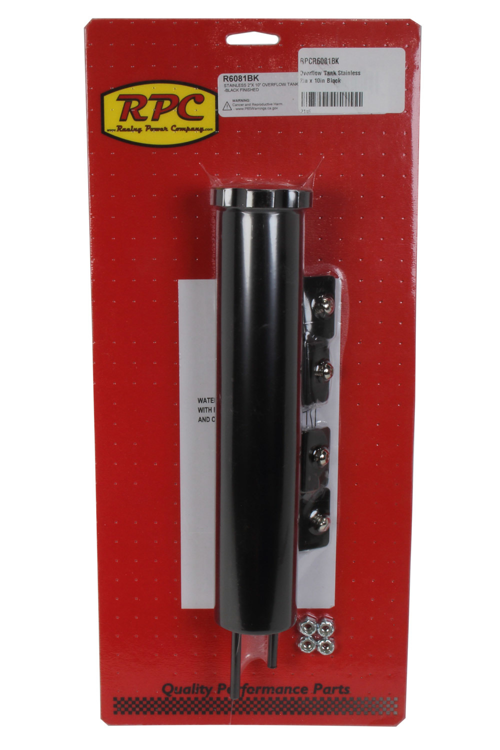 Racing Power Co-packaged Overflow Tank Stainless 2in x 10in Black