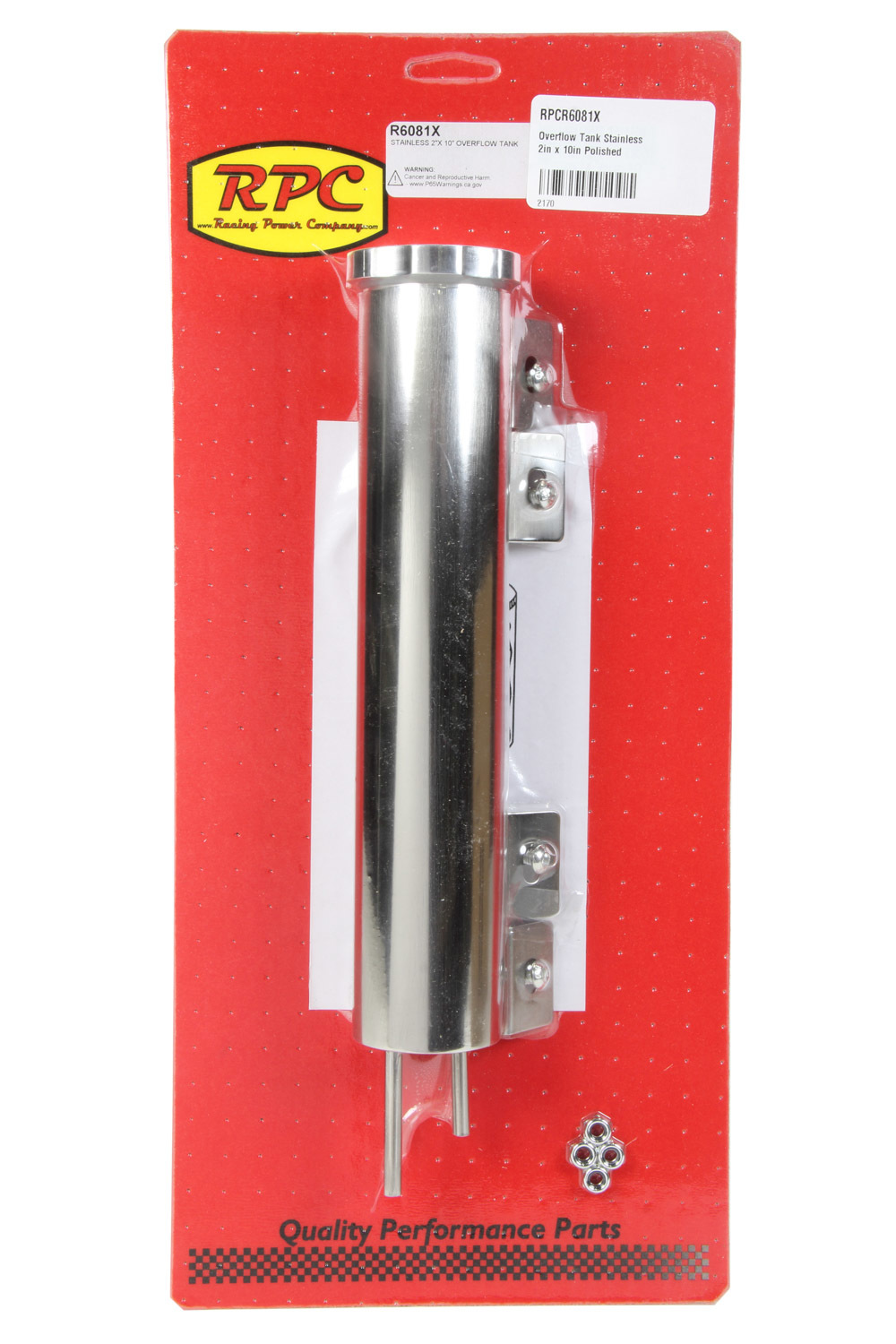 Racing Power Co-packaged Overflow Tank Stainless 2in x 10in Polished