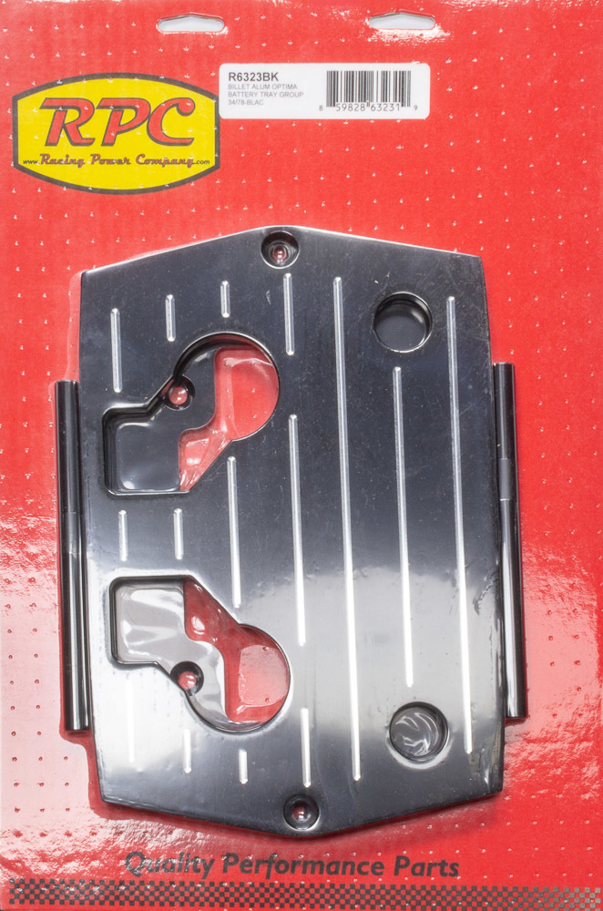 Racing Power Co-packaged Optima Alum Ball Milled Battery Tray Black