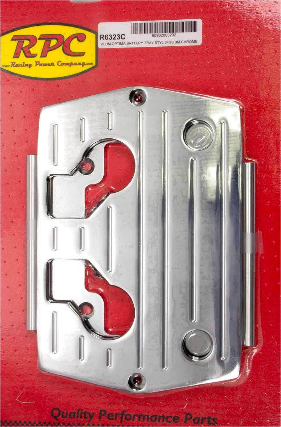 Racing Power Co-packaged Optima Alum Ball Milled Battery Tray Chrome