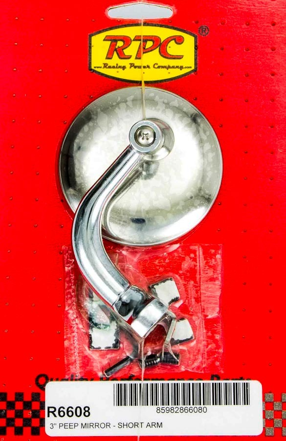 Racing Power Co-packaged Chrome Steel Peep Mirror w/Short Arm 3in