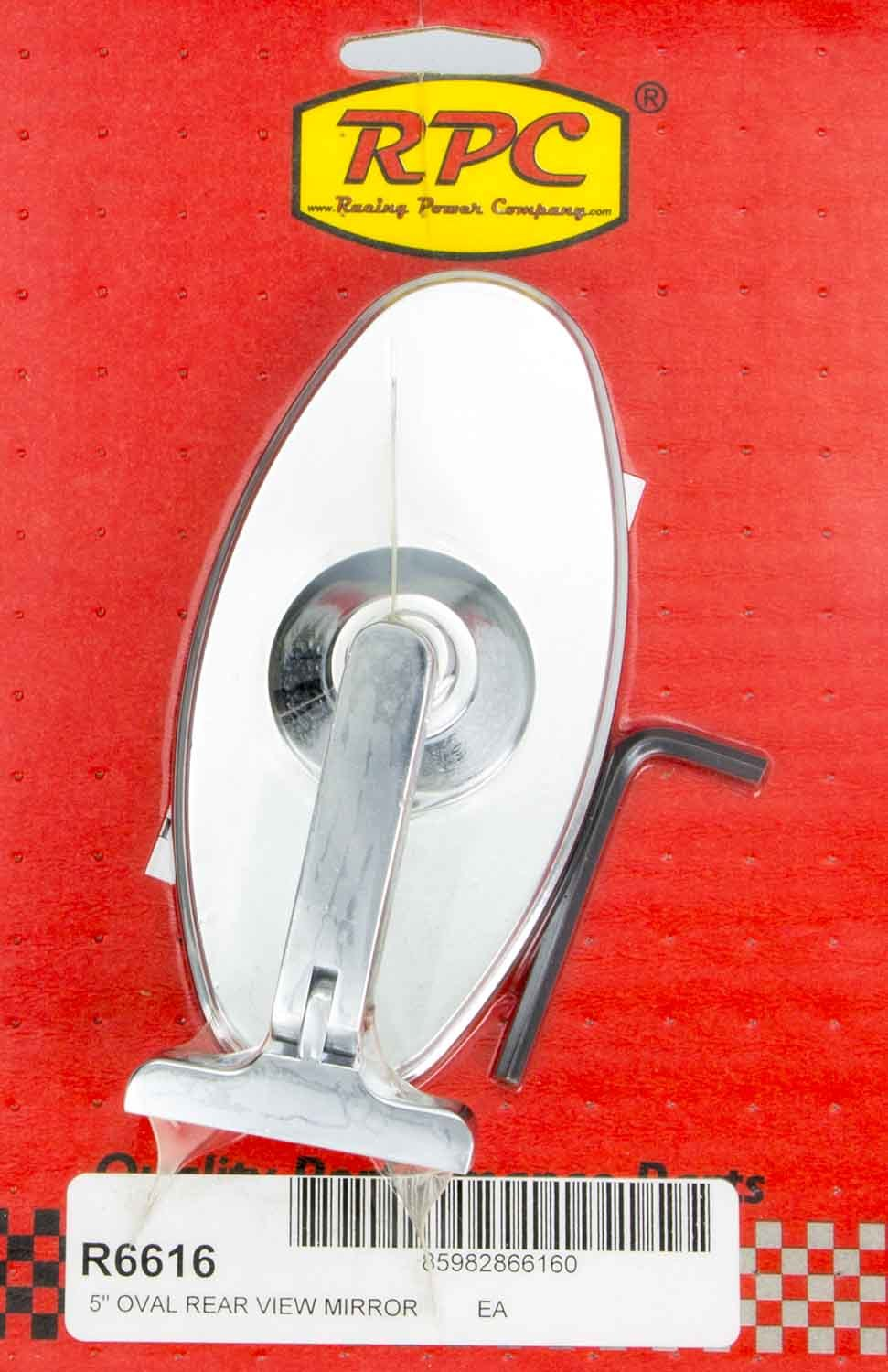 Racing Power Co-packaged Chrome Steel Oval 5in Interior Mirror