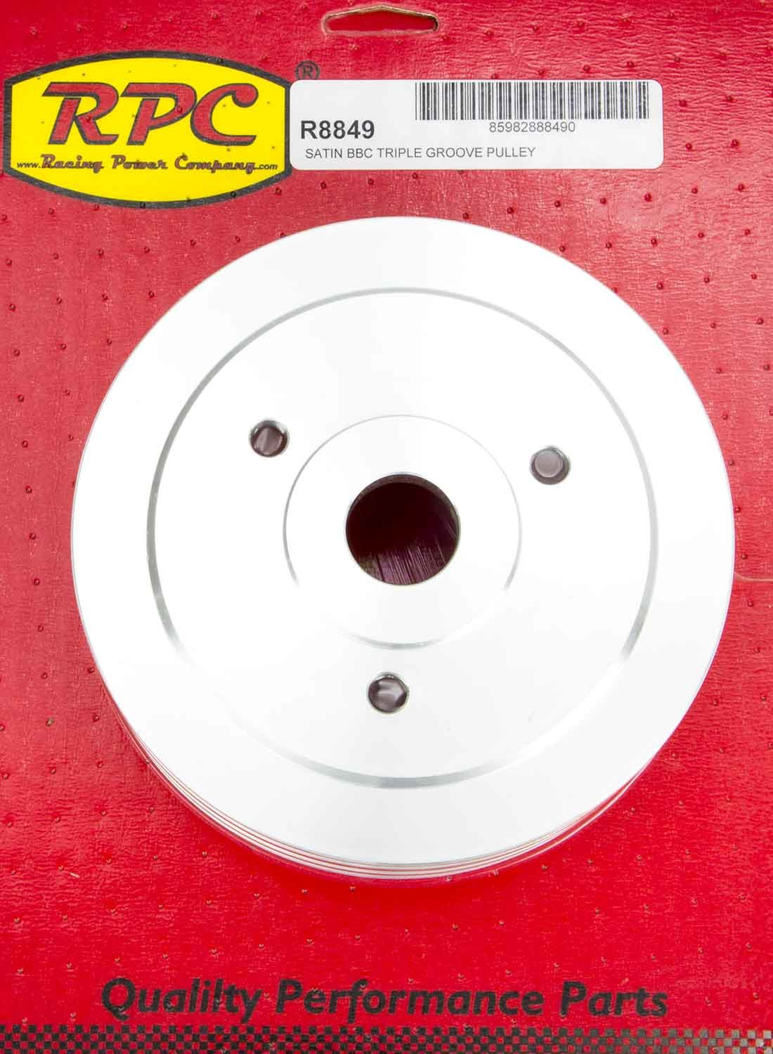Racing Power Co-packaged BBC SWP Triple Groove Lower Pulley Satin