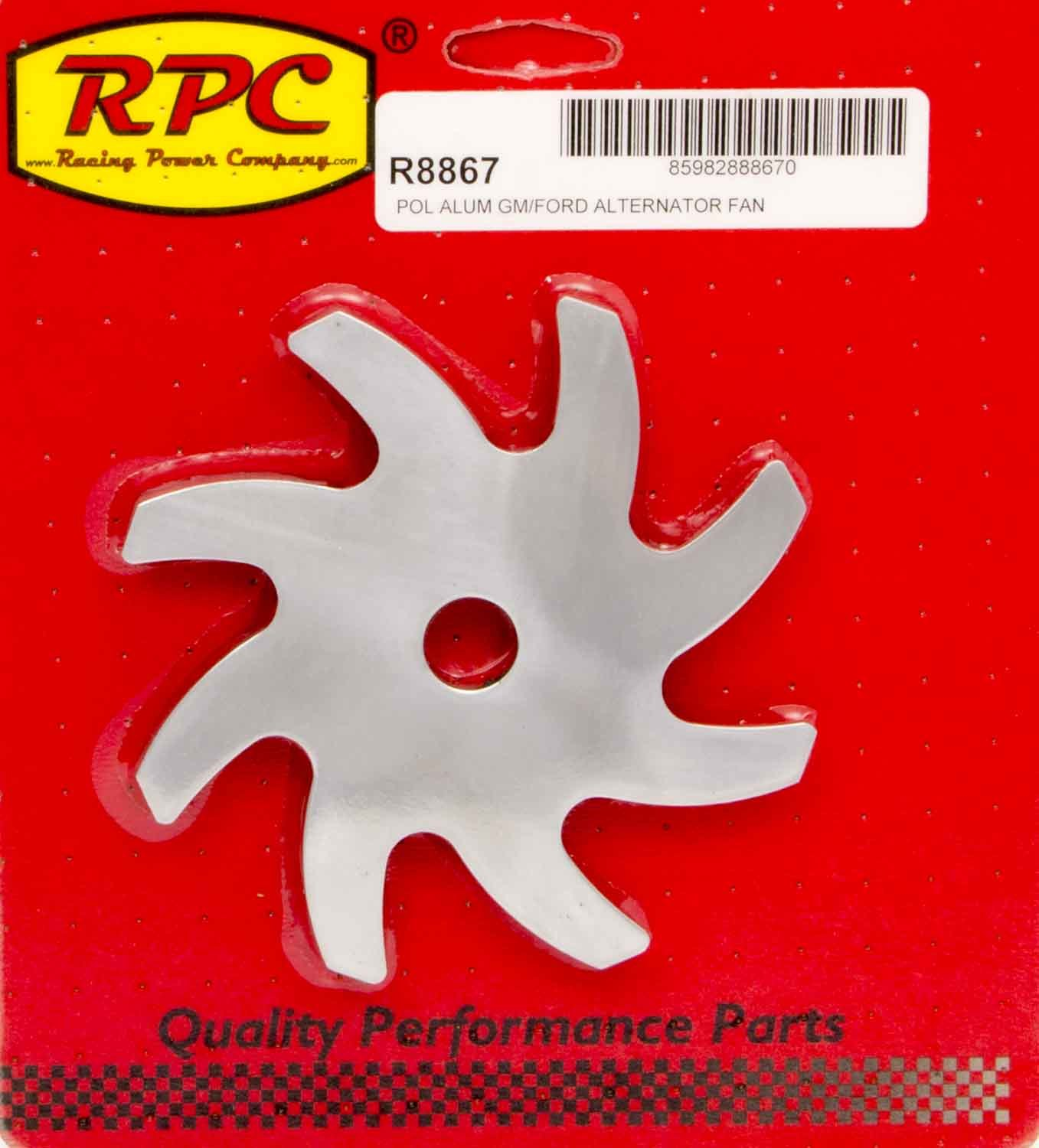 Racing Power Co-packaged Alternator Pulley Fan Polished Aluminum