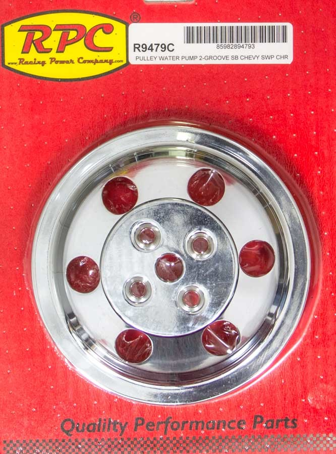 Racing Power Co-packaged SBC Chrome Alum Swp Pulley Double Groove