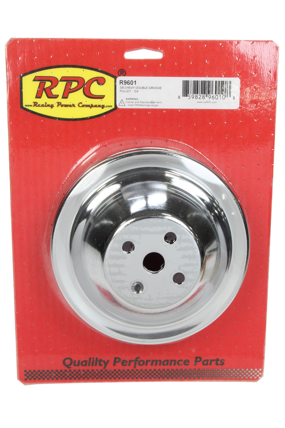 Racing Power Co-packaged SBC SWP 2 GROOVE WATER P UMP PULLEY CHROME