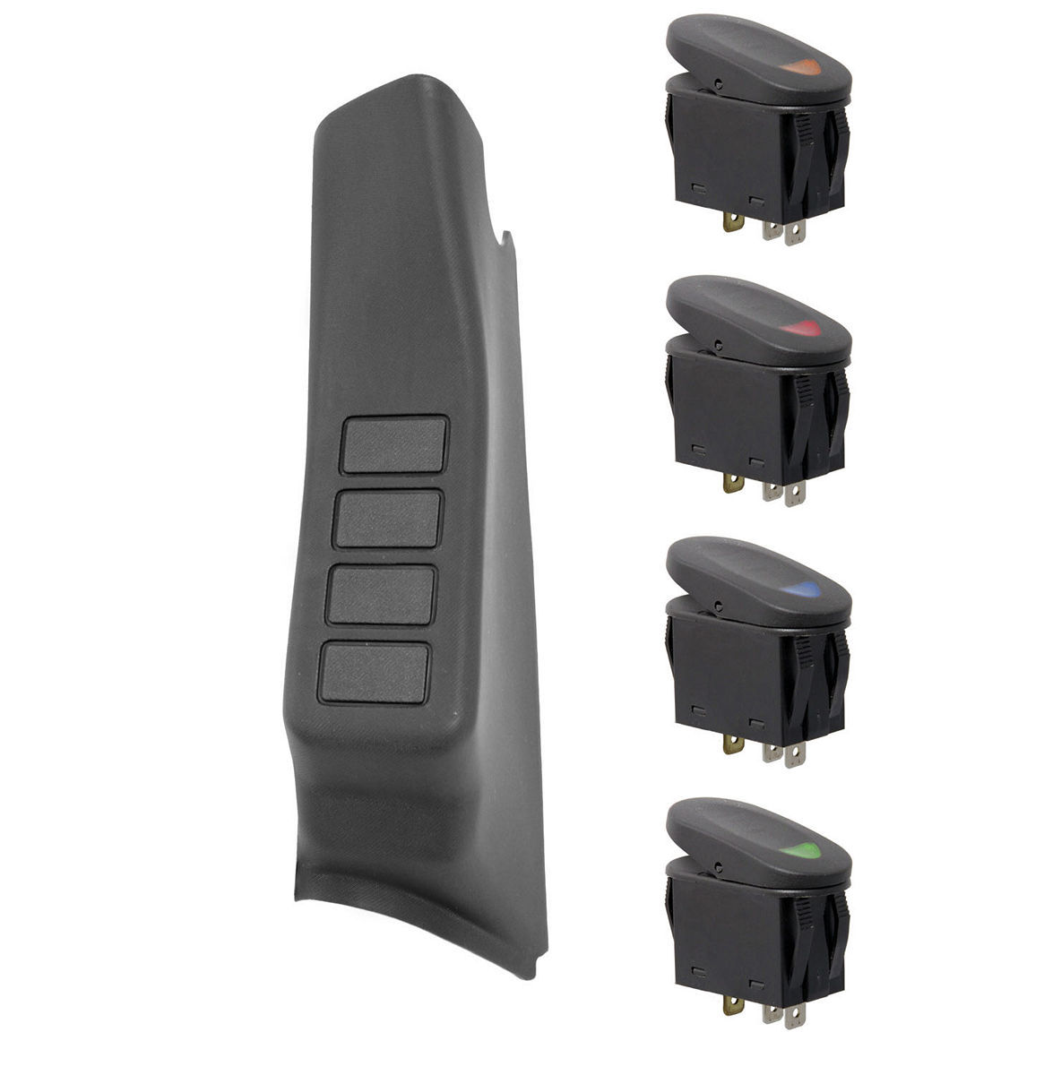 Rugged Ridge A-Pillar 4 Switch Pod Ki t  Black LHD 11-18 Wrang