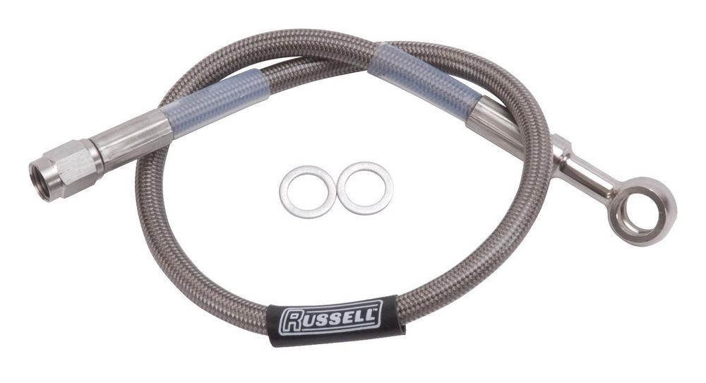 Russell 24in DOT Endura Brk Hose 10mm Banjo to #3 Str
