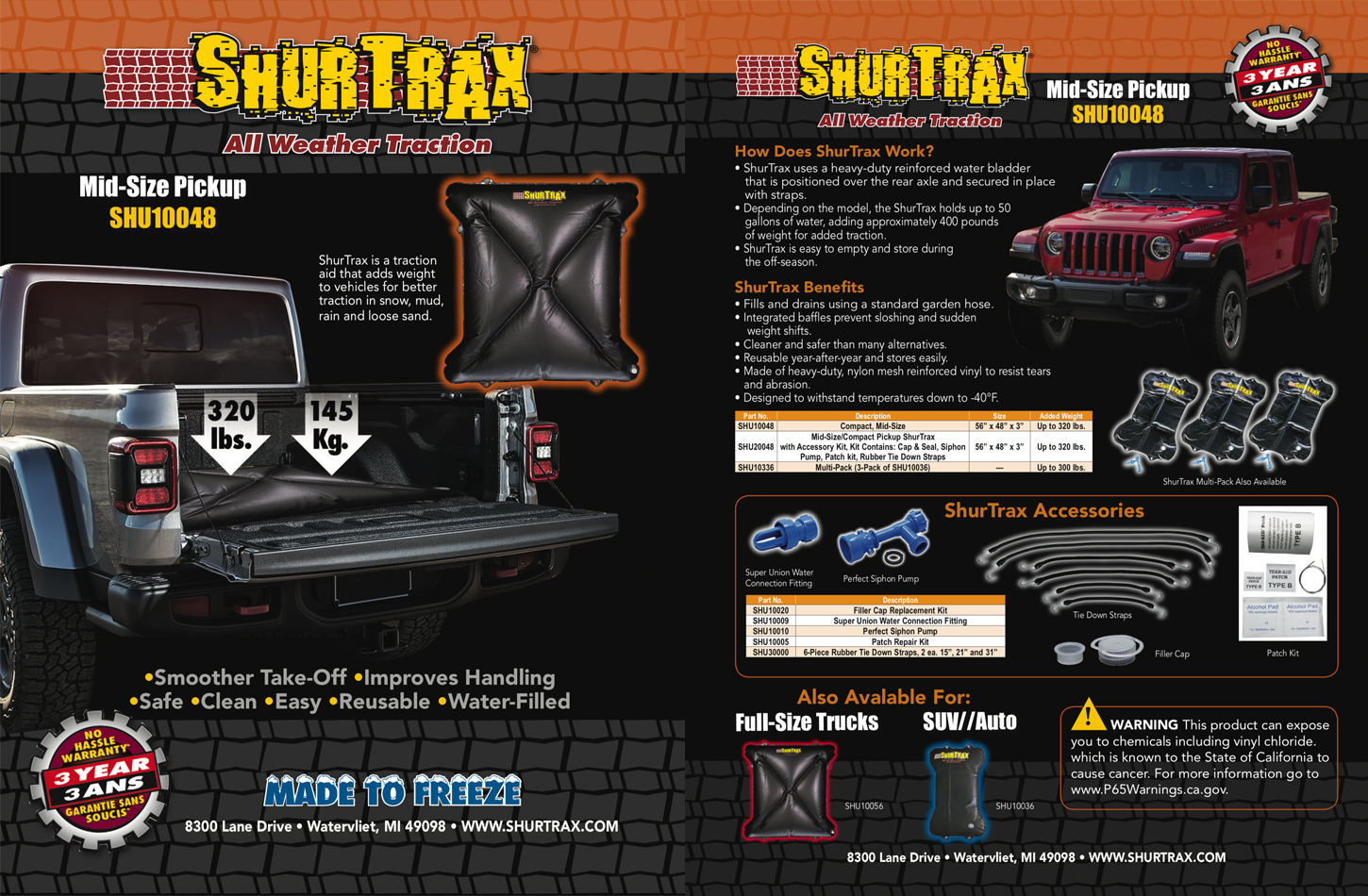 Shurtrax Mid-Size Pick-Up Sell Sheet