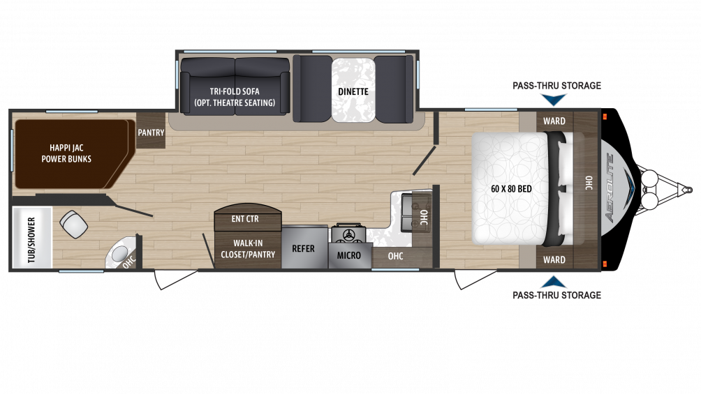 2018 Aerolite Luxury Class 2843BH Floor Plan Img
