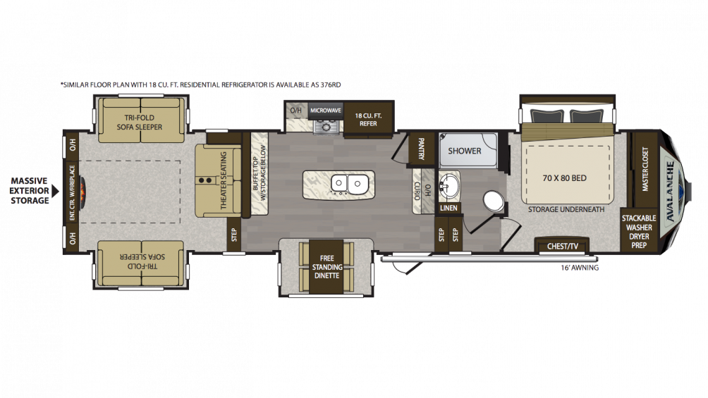 2018 Avalanche 375RD Floor Plan Img