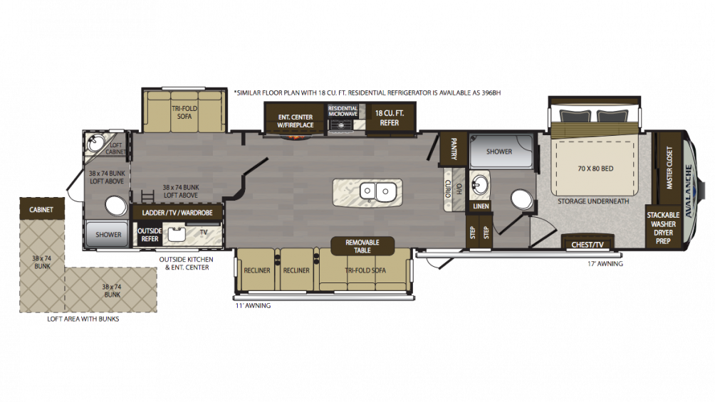 2018 Avalanche 396BH Floor Plan