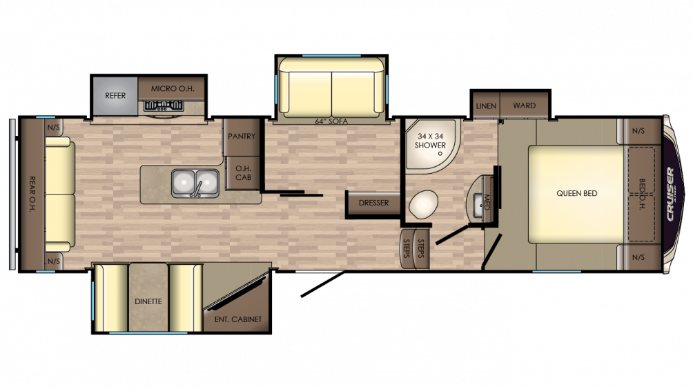 2018 Cruiser Aire 30MD Floor Plan Img