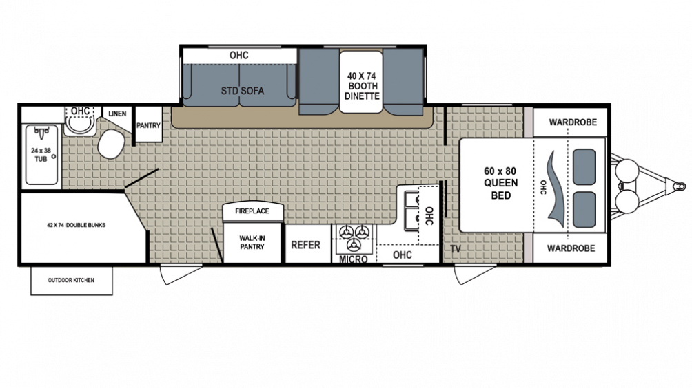 2018 Kodiak Ultimate 288BHSL Floor Plan Img