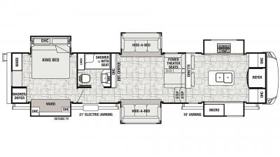 2019 Cedar Creek Champagne 38EFK Floor Plan Img